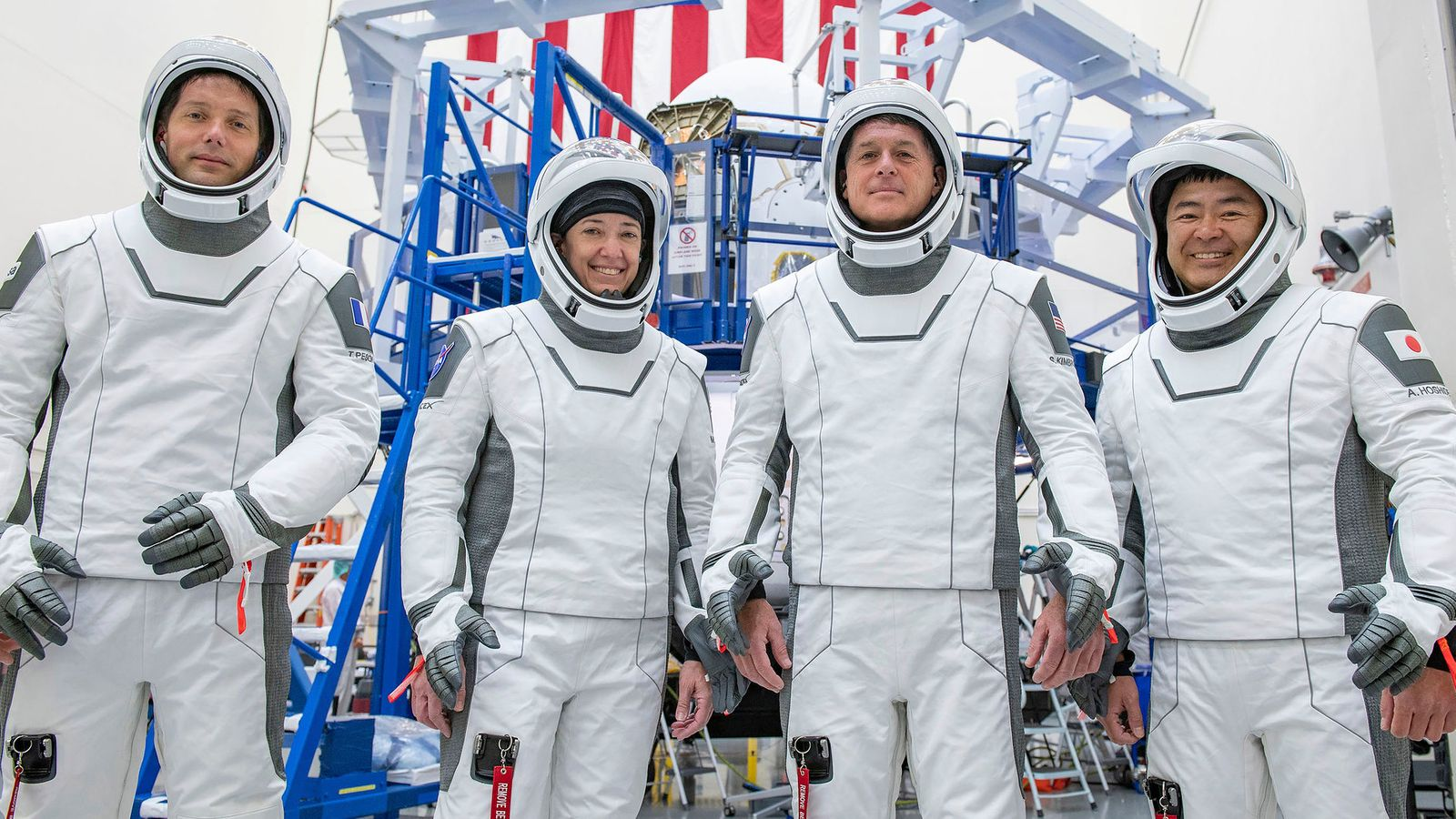 The crew for its SpaceX's third astronaut launch to the International Space Station in training in California