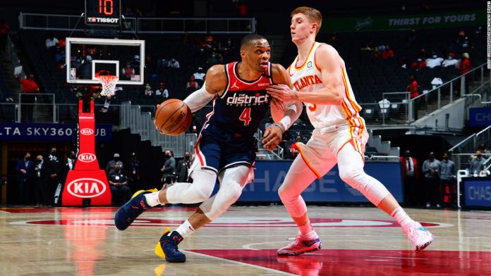 Russell Westbrook of the Wizards breaks the NBA record for triple-doubles, surpassing Oscar Robertson