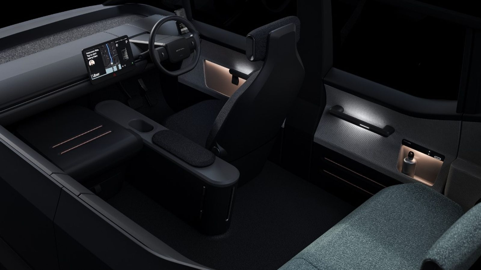 The companies said the car would offer comfort to both driver and riders. Pic: Uber/Arrival